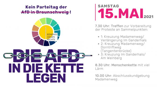 Proteste vom Bündnis gegen rechts gegen den AfD – Parteitag am 15.5. in Braunschweig